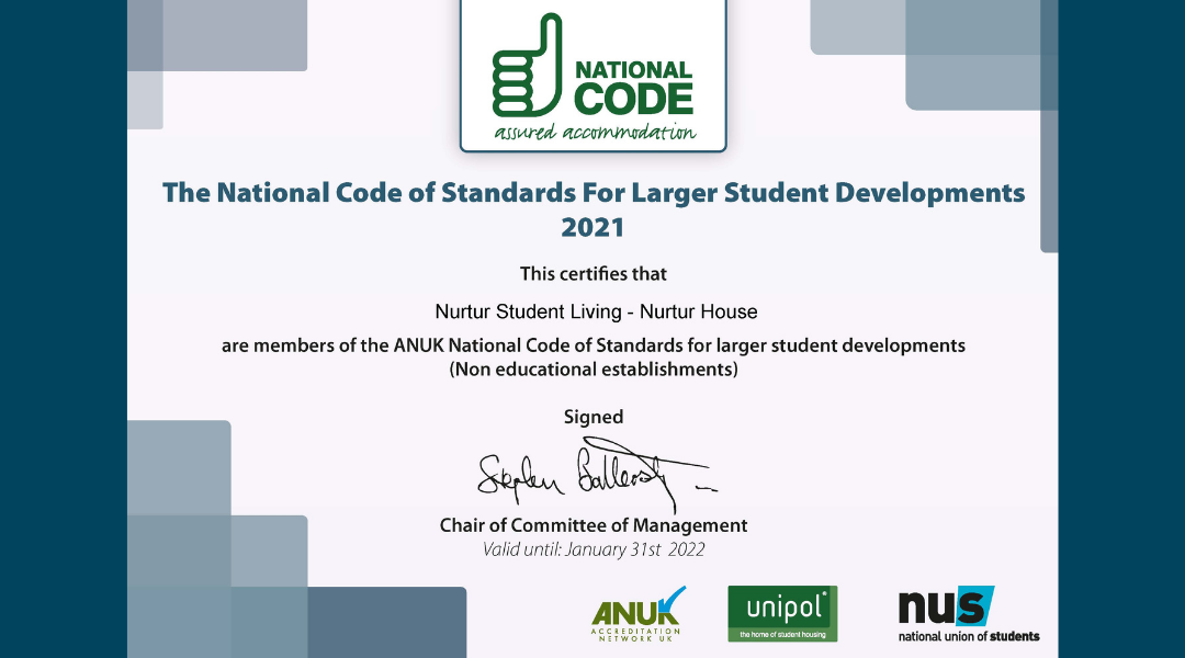 Nurtur Student Living is accredited with the ANUK Code of Standards